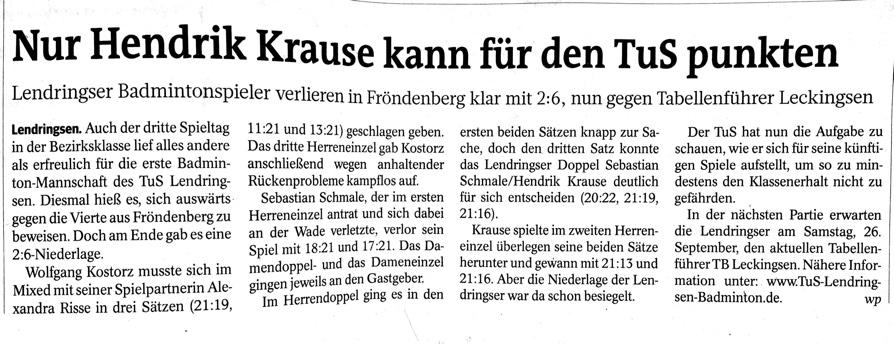 WP Artikel vom 16.09.2015 - Spieltag 3 der Ersten Badminton des TuS  Lendringsen 1894 e.V.